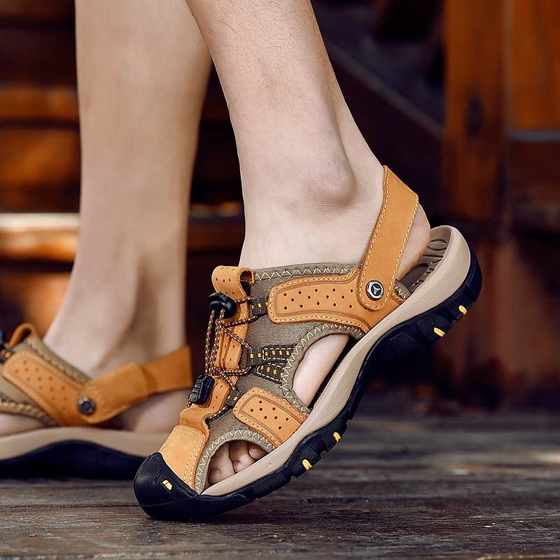 Sandálias Black Plus Chinelos Size Dd023 Homens Hombre Claquette khaki Sandalias Dos Couro De gold Homme Costura Lazer wHxgFC4qUw