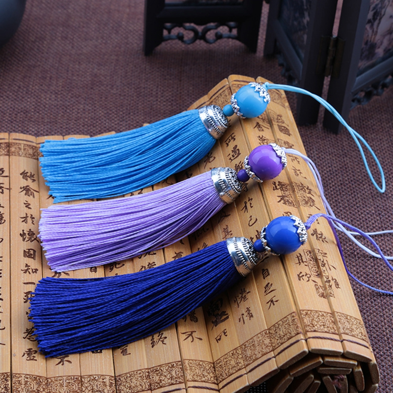 12pcs lot sling with bead tassel silk fringe sewing alloy head decorative tassels 18cm for curtains home decoration accessories in Tassel Fringe from Home Garden