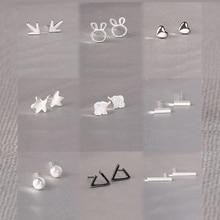 Real 925 Sterling Silver Stud Earrings for Women Girls  sterling-silver-jewelry brincos oorbellen aros de plata 925 real 925 sterling silver stud earrings for women girls sterling silver jewelry aretes de mujer heart earrings fashion jewelry