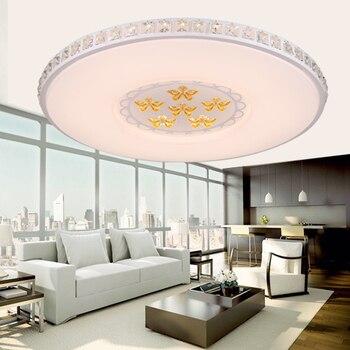 Led circle living room lights crystal ceiling light bedroom lamps modern brief restaurant lights dimming lighting