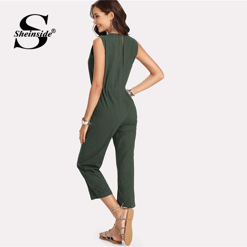 b93aa7628d72 Sheinside Drawstring Waist Solid Jumpsuit 2018 Summer Round Neck Sleeveless Mid  Waist Jumpsuit Women Army Green Elegant Jumpsuit-in Jumpsuits from Women s  ...