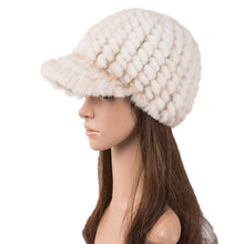 women fur baseball caps of natural mink winter autumn white fashion knitted warm hats H118