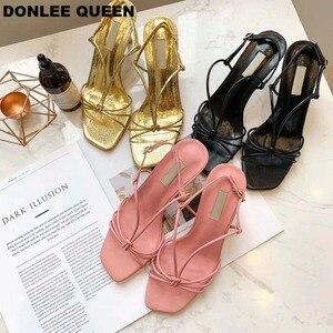 Image 1 - 新しい夏ブランドサンダルセクシーなハイヒールオープントゥグラディエーターサンダル女性狭帯域バックルストラップドレス靴 sandalias mujer 2019