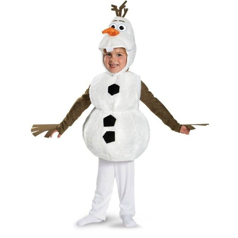 Deluxe Plush Adorable Child Olaf Halloween Cosplay Costume For Toddler Kids Favorite Cartoon Movie Snowman Party Dress-up