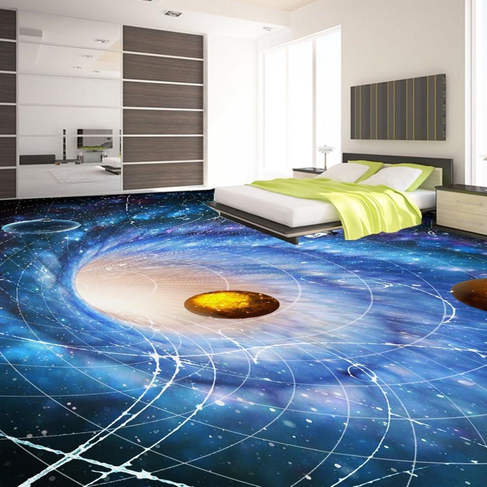 ᗐCustom Foto Vloer Behang Moderne Art Universe Planet 3D Woonkamer ...