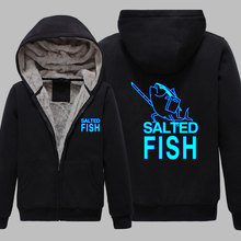 P01 Winter Jackets and Coat Kantai Collection hoodie Anime salted fish Luminous reflect light Thick Zipper Men Sweatshirts