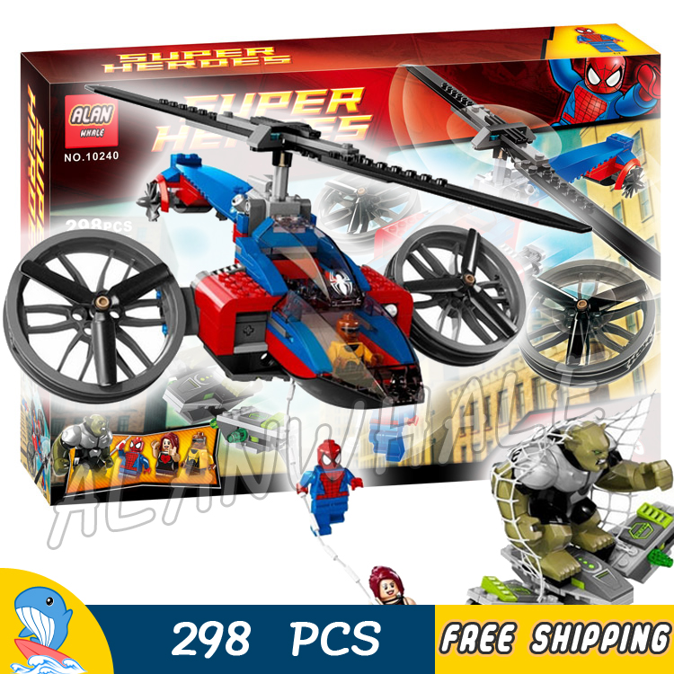 298pcs Super Heroes Spider-Man Spider Helicopter Rescue 10240 Model Building Blocks Children Toys Bricks Compatible With lego стоимость