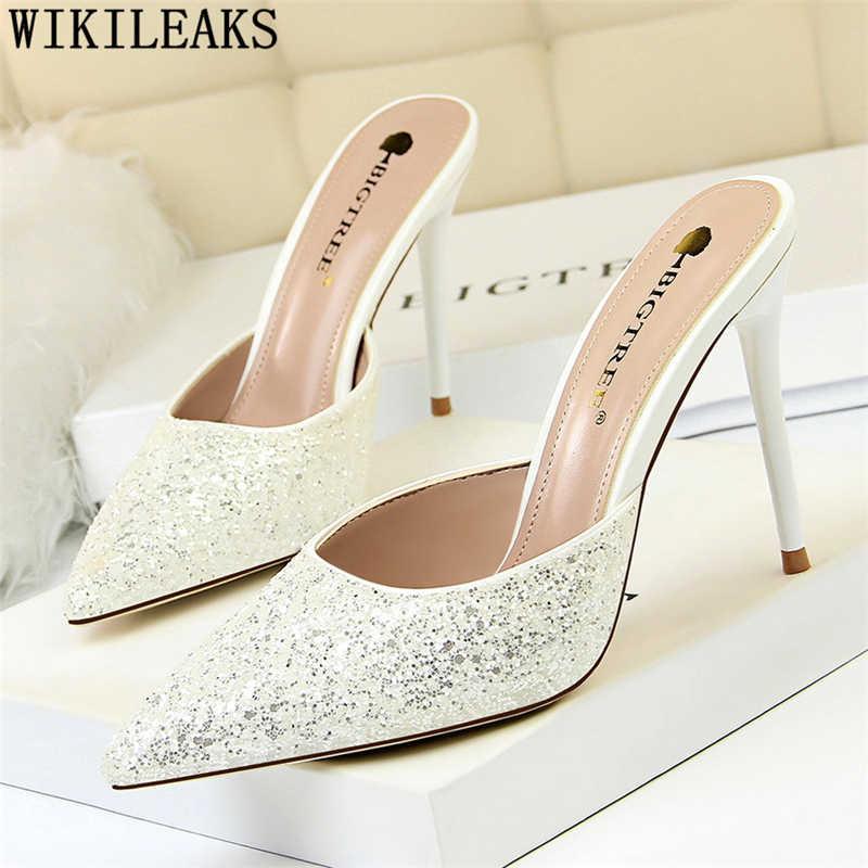 Long lanh gót la giày phụ nữ cực cao gót giày phụ nữ bơm gót màu đen bigtree giày zapatos de mujer tacones mujer