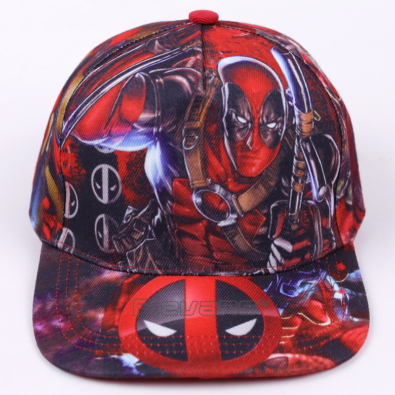 Free Size Deadpool Fashion Caps Men Boy Printed Style Flat Sun Hat Trendy Baseball Cap Brand Snapback Hat 35colors silver gold soild india scarf cap warmer ear caps yoga hedging headwrap men and women beanies multicolor fold hat 1pc
