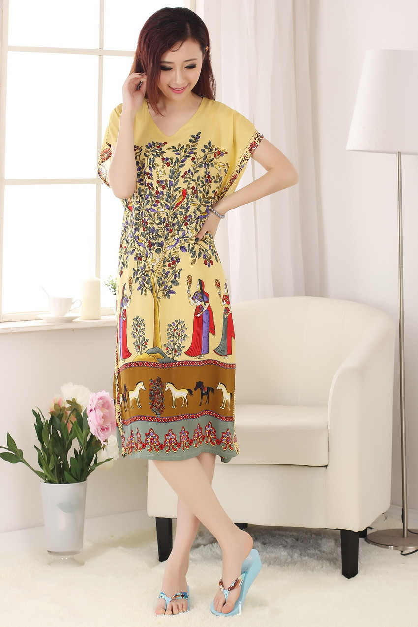 Vintage Print Chinese Womens Cotton Bathrobe Nightgown Summer Casual Robe Dress Gown Sleepwear Long Nightdress One Size NR131
