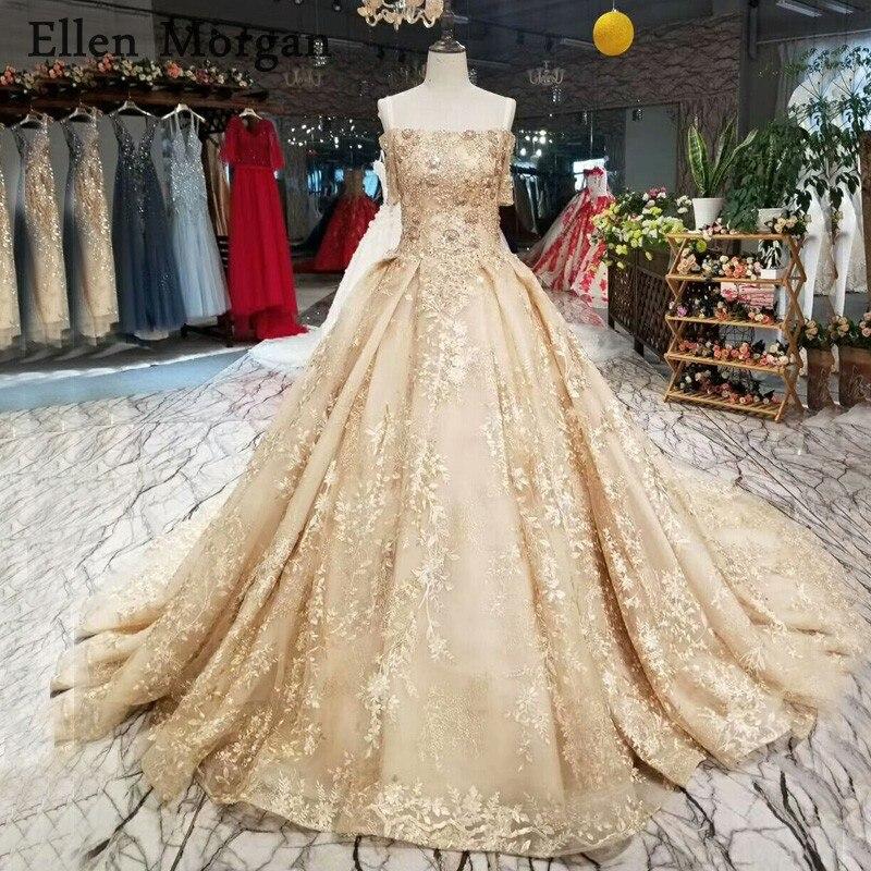 Vintage Wedding Dresses 2019: Vintage Champagne Lace Ball Gowns Wedding Dresses 2019