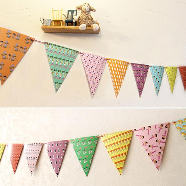 Colorful Handmade Paper Flags Bunting Party Decorations