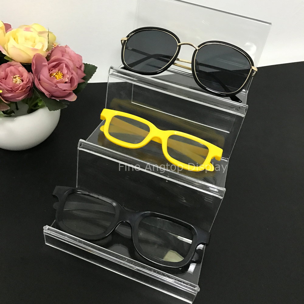 Desktop Jewelry Organizer Stand 3 Pair Acrylic Sunglasses Eyeglass Glasses Optical Frame Rack Display Holder Rack acrylic sunglass glass rack optical display frame glasses stand holder organizer clear