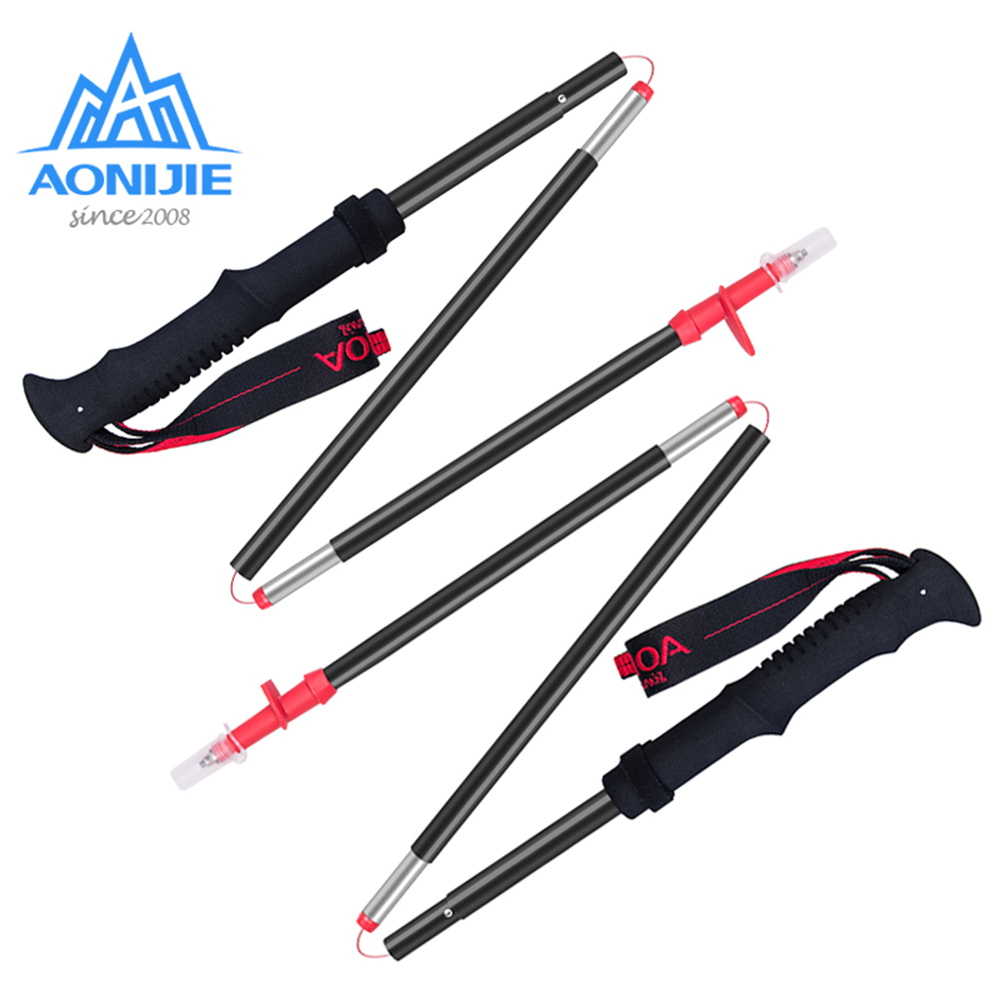 2pcs AONIJIE E4070 E4093 Tri fold Folding Ultralight Quick Lock Trekking Poles Hiking Pole Walking Running