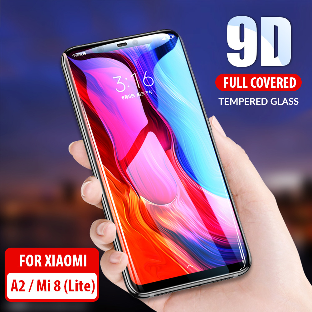 9D Curved Tempered Glass For Xiaomi Mi8 Mi 8 A2 Lite Screen Protector Full Cover Protective Glass For Xiaomi Mi 8 A2 Lite Pro SE