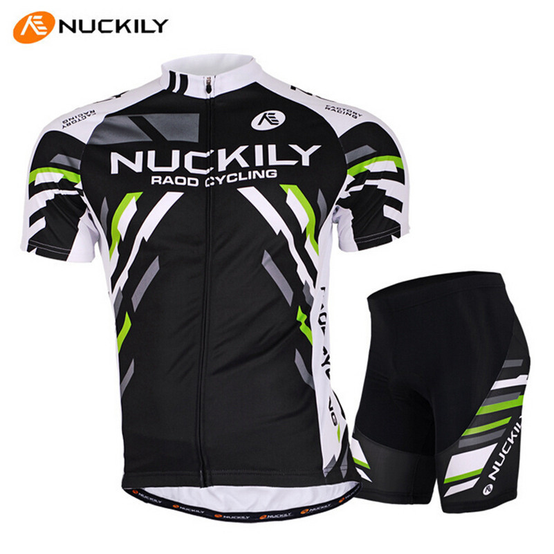 NUCKILY Ropa Ciclismo White Black Men Bike Jersey Short-sleeve T-shirt Gel Padded MTB Pro Trainning Bicycle Cycling Jersey Set aaa 2016 hot sale 2017 reals madrides best quality short sleeve kids kit soccer jersey 16 17 white purple 3rd black shirt