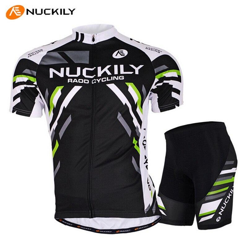 NUCKILY Ropa Ciclismo White Black Men Bike Jersey Short-sleeve T-shirt Gel Padded MTB Pro Trainning Bicycle Cycling Jersey Set