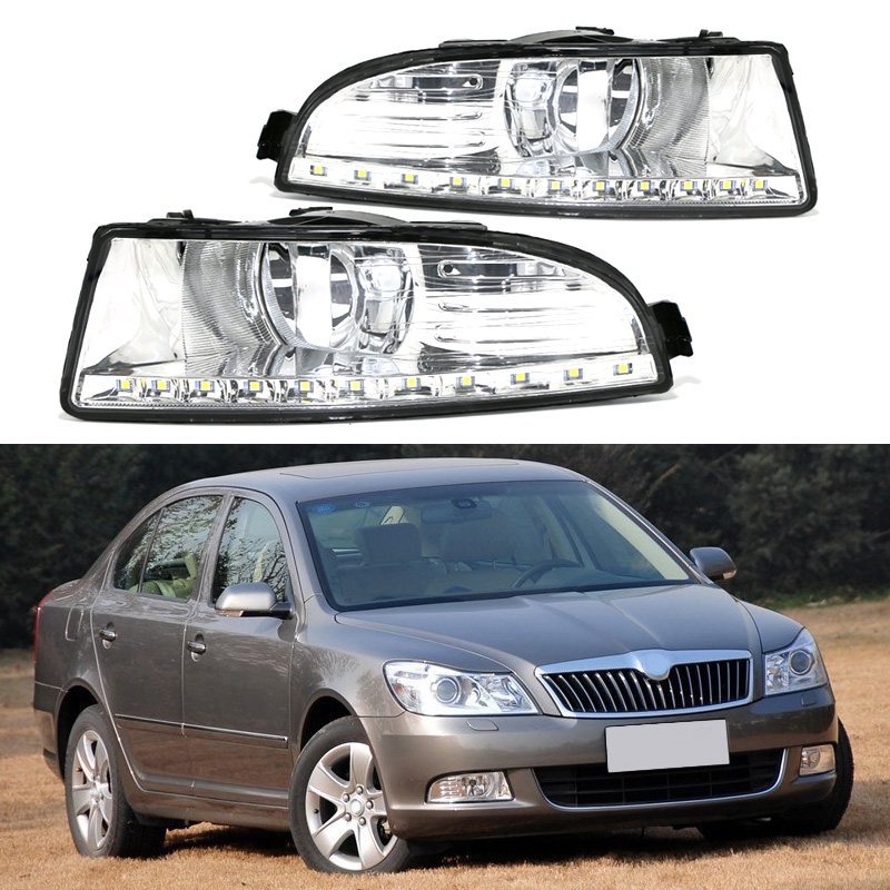 Fast Shipping LED 12V DRL Daytime Running Light Fog Lamp Hole for SKODA OCTAVIA A5 2010 2011 2012 2013 Waterproof Car Styling рейсмусовый станок jet jwp 16 os 708531t