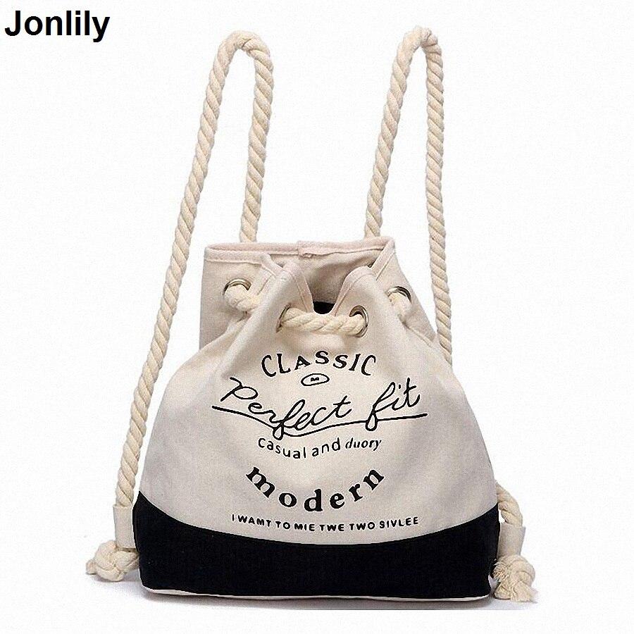 Canvas Printing Women Drawstring Backpack Stylish Female String Bucket Backpack Beach Bag Casual Shoulder Travel backpackLI-1236