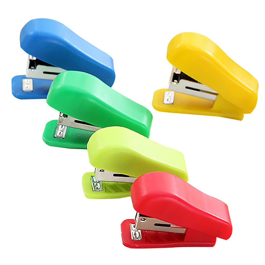 Random Color Without Stapler Cute Solid Office Stationery Student Use Small Plastic Stapler Portable Mini For No. 10 Staples