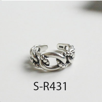 ANENJERY Vintage 925 Sterling Silver Rings Handmade Size 18mm Adjustable Rings For Men Women Thai Silver Jewelry S R430 in Rings from Jewelry Accessories