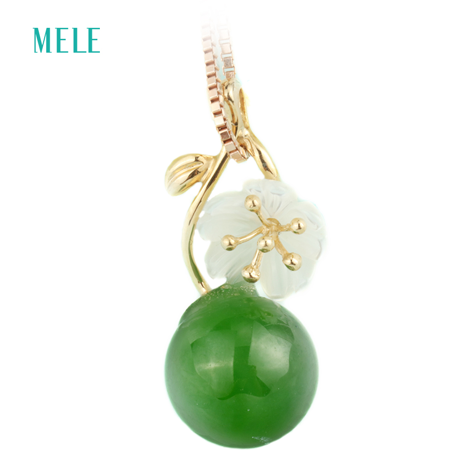 Natural green jasper rose gold pendant , 18K rose gold, green jasper with white seashell flower, 10mm jasper stone ward jasper lyle