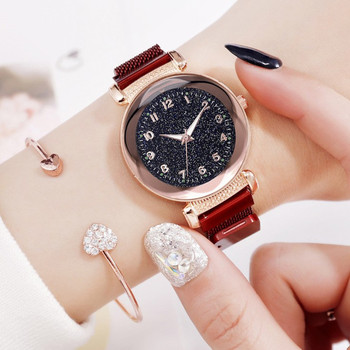 Luxury Rose Gold Women Watches Fashion Diamond Ladies Starry Sky Magnet Watch Casual Female Wristwatch for Gift Clock New 2019