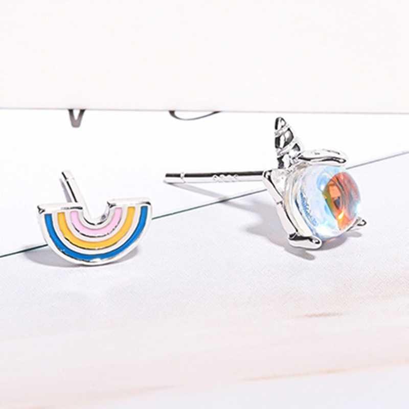 Baru Fashion Perak Beruntung Unicorn Anting Tindik 925 Asimetri Batu Bulan Unicorn Pelangi Kepribadian Anting-Anting untuk Wanita Wanita Perhiasan