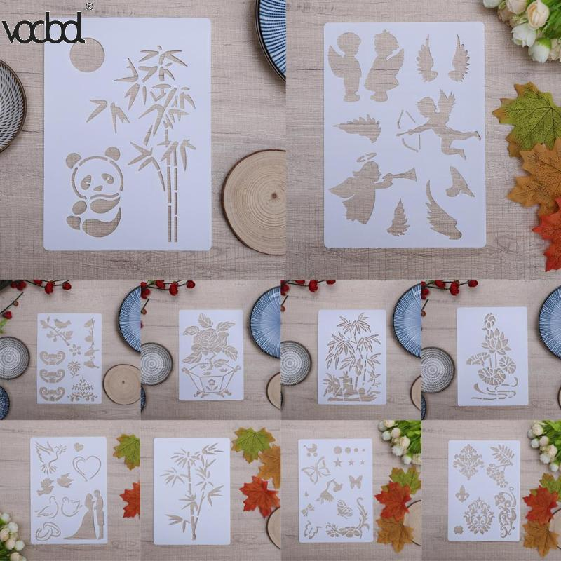 Panda Bamboo DIY Layering Ruler Stencils for Walls Scrapbooking Painting Template Stamps Album Decor Embossing Paper Cards Craft 1pc transparent clear stamps diy silicone seals scrapbooking phpto album crad making craft stamp sheet decoration