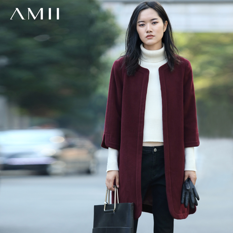 Amii Casual Women Woolen Coat 2018 Winter 3/4 Sleeve Covered Button O Neck Female Wool Blends