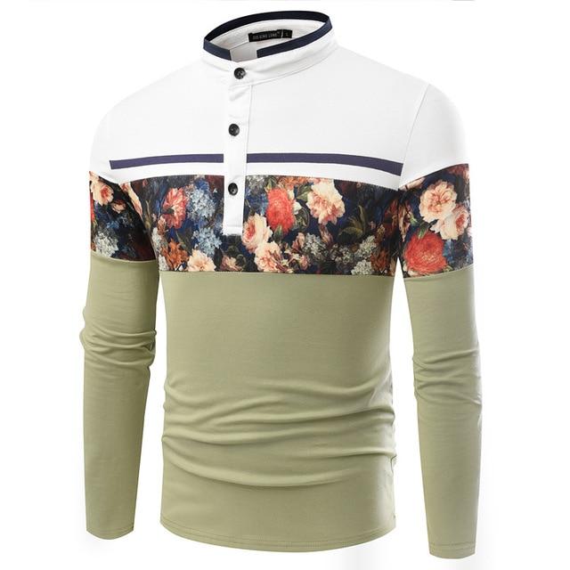 Новая Мода Цветочный Печати С Длинным Рукавом Camisa Поло Мужчины хлопок Повседневная Дышащий Фитнес Boss мужская рубашка поло бренды 3 цвета