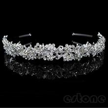 Twinkling Crystal Flower Leaf Wedding Bridal Girl Tiara New Fashion