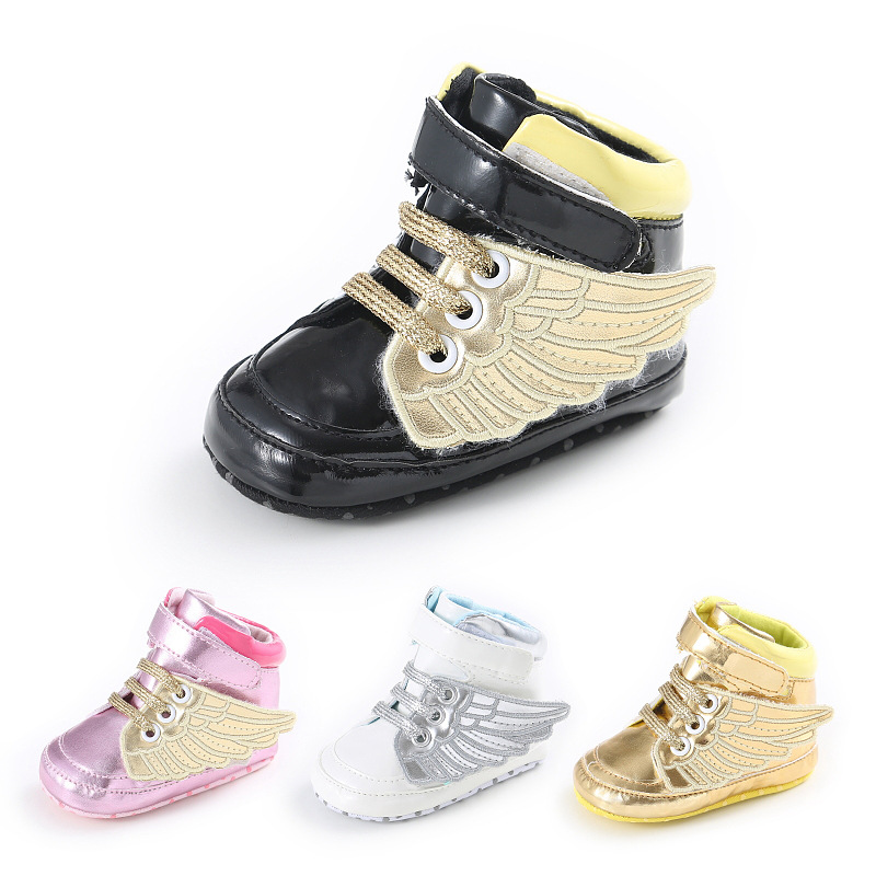 7b28c48c6 New Fashion PU Leather First Walker Baby Boys Shoes Infant Toddler Angel  Wings Bebe Crib Newborn Boots Footwear Prewalkers