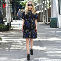 New 2018 European Fashion Women Blue Sequined Dress Short Sleeve Flower  Embroidery Girls Nigh Party Straight 791735a47c60