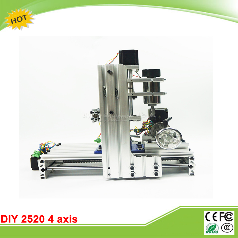 cnc router Engraving machine  DIY 2520 4axis Engraving Drilling and Milling Machine with rotary axis no tax to Russia 4 axis cnc machine cnc 3040f drilling and milling engraver machine wood router with square line rail and wireless handwheel