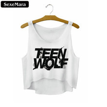 "SexeMara 2018 ""Teen Wolf"" Letters Print White Crop Tops Summer Sexy Short Tank Tops Women Cropped Cute Fashion Loose Vest F722"