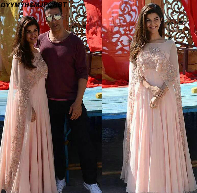 Arabic Kaftan 2018 Pink Applique Women Evening Dresses With Sheer Cape Beads Chiffon Formal Gowns Indian Long Prom Dress_
