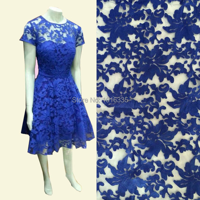 2016 Royal Blue Cotton Embroidery Accessories Beyonce Dress Fashion