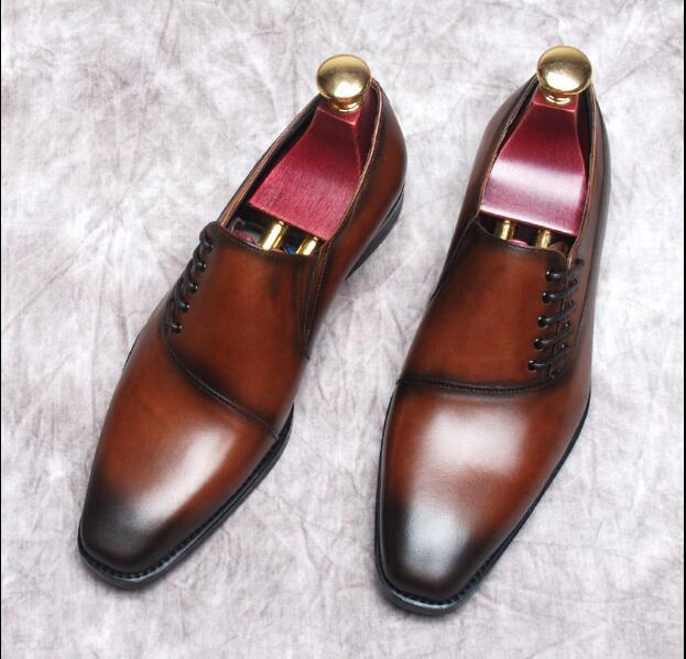 schokolade Spitze England Leder Kleid Business Schuhe Derby Hochzeit Goodyear Männer Herren Retro Schwarzes Hand up poliert 8wxZvpnUq