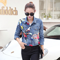 the Fall New 2016 Korean Single Embroidered Denim Jacket Color Female 3d Butterfly Pattern Sleeved denim jacket