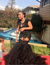Robe De Soiree Sheer Tulle Spitze Appliques Damen Party Kleider Sexy Schwarze Afrikanische Meerjungfrau Lange Abendkleider Plus Größe 2017 neue