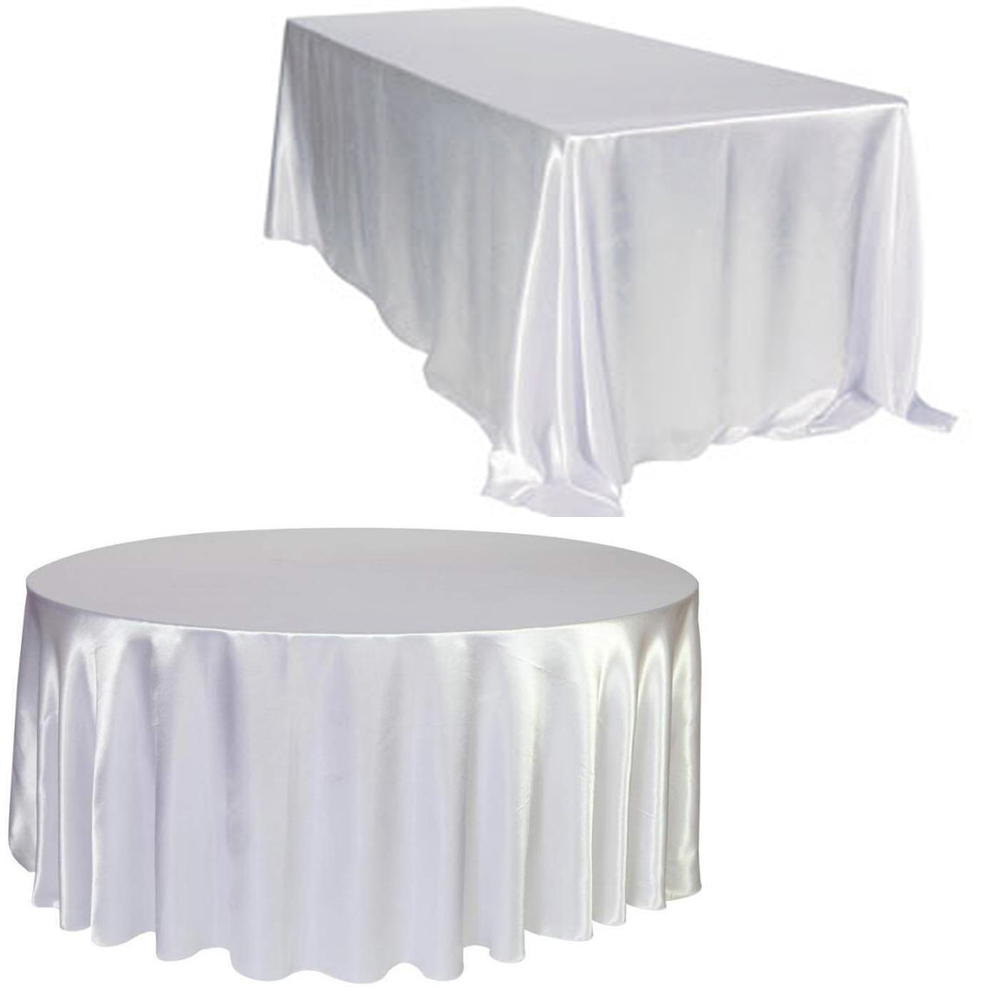 10pc White Round Rectangle Satin Tablecloth For Kitchen Dinning Tabletop Wedding Dinner Birthday Party Decor Circular Oval Table
