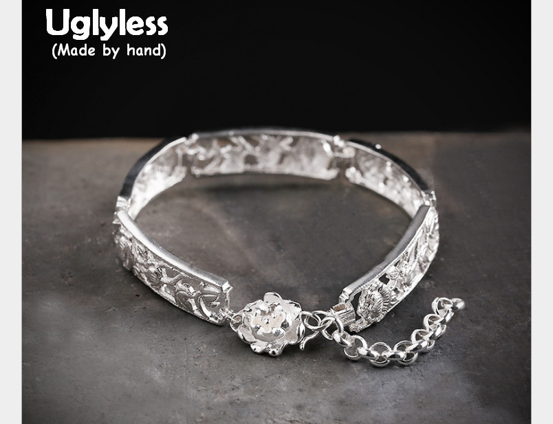 Uglyless Real S990 Silver Flower Bangles for Women Handmade Engraved Plants Hollow Wide Bangle Adjustable Ethnic Jewelry VintageUglyless Real S990 Silver Flower Bangles for Women Handmade Engraved Plants Hollow Wide Bangle Adjustable Ethnic Jewelry Vintage