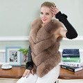 Genuine Fox Fur Vest Jacket Natural Real Fur Vest Winter 50cm Thick New 2016 Female Pockets Women Real Fur Vest Coat