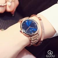 GUOU Марка часы Для женщин Модный дизайн синий большой циферблат наручные кварцевые Для женщин Часы розовое золото Сталь Часы Relogio feminino
