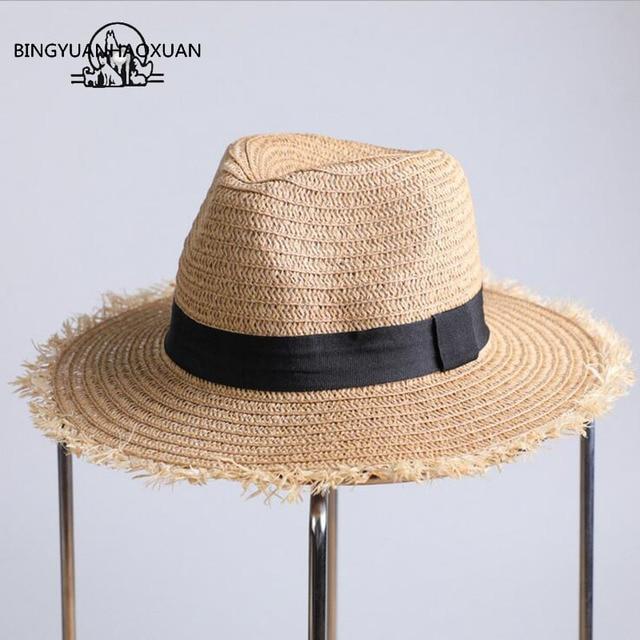 28d61b3356e BINGYUANHAOXUAN 2018 Fashion Straw Hats For Women Summer Big Hand-woven Sun Hat  Wide-Brim Beach Beach Sunglass Hat Feminino