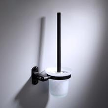 Trasporto libero Accessori Bagno fissato al muro nero Alluminio Dello Spazio bagno Wc Supporto di Spazzola BR 999mts