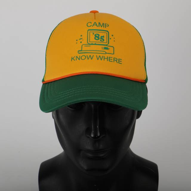 1f7b933d8 2019 Strange Things Dustin Hat Retro Mesh Trucker Cap Yellow Green 85 Know  Where Adjustable Cap Gifts Halloween