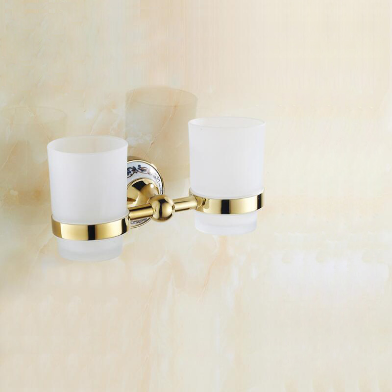 Free Shipping Becola Ceramic+Glass+Brass Gold Plated Double Cup Holders Toothbrush Cup Holder BR-5503 free shipping zn447j gold plated double pin dip ic
