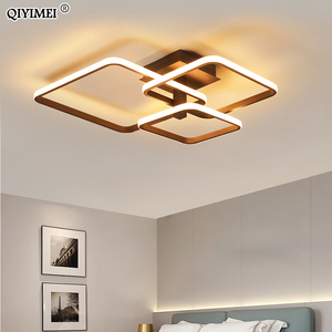 Image 1 - New LED Ceiling Light For Living Room Dining Bedroom Dimmable With Remote  White Coffee Frame Lighting Fixture Lamparas De Techo